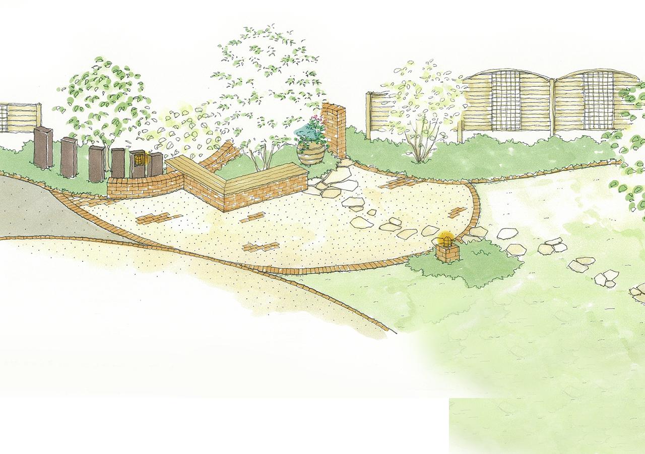 お庭、ガーデン、外構、エクステリアの手描きパース